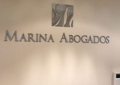 RECEPCION MARINA ABOGADOS Letras corpóreas recortadas
