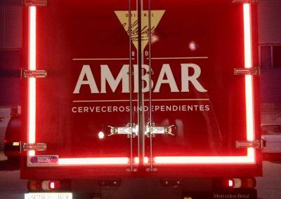Visión vinilo reflectante trasera camión Ambar