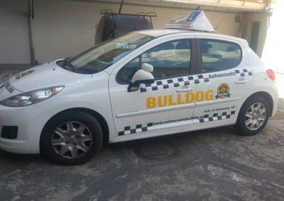 Rotulación de vehículo, en vinilo de corte polimérico, y logotipo impreso , laminado y troquelado, autoescuelas Bulldog