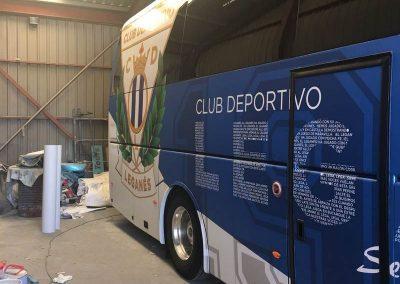Rotulación integral de autobús para el Leganés en vinilo impreso y laminado polimérico